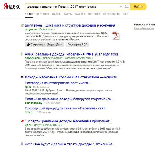пример поиска информации в Интернете по конкретизированному запросу